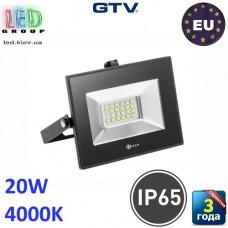 Светодиодный LED прожектор, GTV, 20W, IP65, 4000K, G-TECH, чёрный. ПОЛЬША!!! Гарантия – 3 года