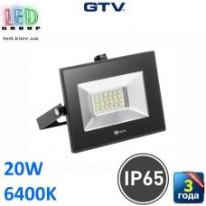 Светодиодный LED прожектор, GTV, 20W, IP65, 6400K, G-TECH, чёрный. ПОЛЬША!!! Гарантия – 3 года