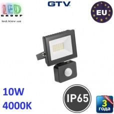 Светодиодный LED прожектор с датчиком движения, GTV, 10W, IP65, 4000K, G-TECH, чёрный. ПОЛЬША!!! Гарантия – 3 года
