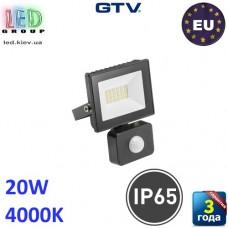 Светодиодный LED прожектор с датчиком движения, GTV, 20W, IP65, 4000K, G-TECH, чёрный. ПОЛЬША!!! Гарантия – 3 года