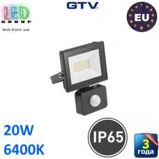 Светодиодный LED прожектор с датчиком движения, GTV, 20W, IP65, 6400K, G-TECH, чёрный. ПОЛЬША!!! Гарантия – 3 года