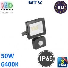 Светодиодный LED прожектор с датчиком движения, GTV, 50W, IP65, 6400K, G-TECH, чёрный. ПОЛЬША!!! Гарантия – 3 года