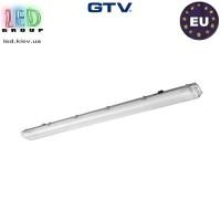 Корпус светильника для ламп Т8, GTV, IP65, накладной, одностороннее подключение, серый, 2х1200мм, G-TECH. Польша!
