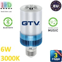 Светодиодная LED лампа GTV, 6W, E27, 3000К, Bluetooth, Wireless music. ЕВРОПА!!! Гарантия - 3 года