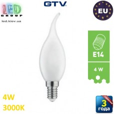 Светодиодная LED лампа GTV, 4W, E14, FILAMENT, свеча на ветру , 3000К – тёплое свечение. ЕВРОПА!!! Гарантия - 3 года