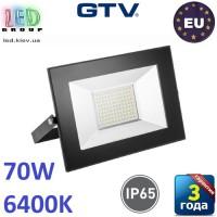 Светодиодный LED прожектор, GTV, 70W, IP65, 6400K, FLUXO, чёрный. ПОЛЬША!!! Гарантия – 3 года