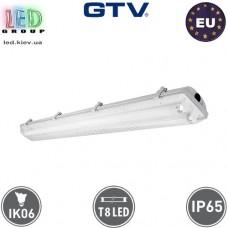 Корпус светильника для ламп Т8, GTV, 2х600мм, IP65, накладной, одностороннее подключение, белый, HELIOS. ЕВРОПА!