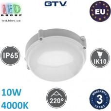 Светодиодный светильник GTV, 10W (ЕМС +), 4000К, IP65, круглый, LUXIA-OK LED, белый. ЕВРОПА!!! Гарантия - 3 года