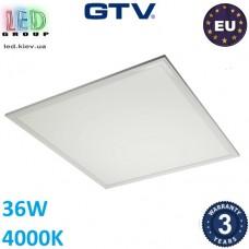 Светодиодная LED панель GTV, 36W (EMC+), 4000К, металл + пластик, квадратная, белая, Ra≥80, LION. ЕВРОПА! Гарантия - 3 года