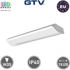 Корпус GTV для ламп Т8, 2х600мм, IP40, накладной, одностороннее подключение, ZEFIR, белый. ПОЛЬША!!!
