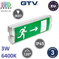 Аварийный светодиодный светильник, GTV, аккумуляторный, 3W, 1 час, IP65, SAHER-1. ЕВРОПА!