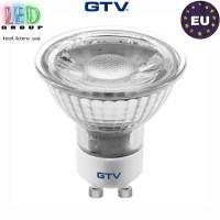 Светодиодная LED лампа GTV, 5W, GU10, MR16, 3000K - тёплое свечение. ЕВРОПА!!! Гарантия - 3 года