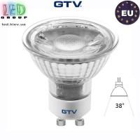 Светодиодная LED лампа GTV, 5W, GU10, MR16, 4000K - нейтральное свечение. ЕВРОПА!!! Гарантия - 3 года