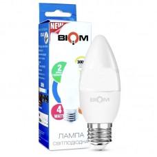 Светодиодная LED лампа Biom, 4W, E27, С37, 3000К – тёплое свечение. BT-547. Гарантия - 2 года
