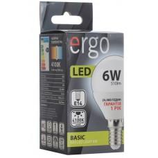 LED лампа ERGO Basic G45 E14 6W 220V 4100K Нейтральный белый