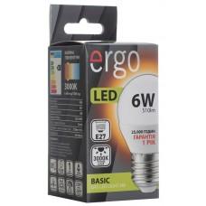 LED лампа ERGO Basic G45 E27 6W 220V 3000K Теплый белый