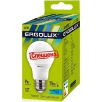 Светодиодная лампа, ERGOLUX, 9W, E27, 4000K - нейтральный свет