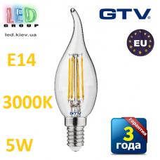 Светодиодная LED лампа,  GTV, 5W, E14, свеча на ветру, FILAMENT, 3000К – тёплое свечение. ПОЛЬША!!! Гарантия - 3 года