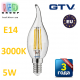 Светодиодная LED лампа,  GTV, 5W, E14, свеча на ветру, FILAMENT, 3000К – тёплое свечение. ЕВРОПА!!! Гарантия - 3 года
