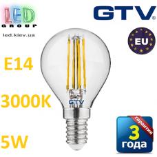 Светодиодная LED лампа GTV, 5W, E14, G45, FILAMENT, 3000К – тёплое свечение. ПОЛЬША!!! Гарантия - 3 года