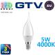 Светодиодная LED лампа GTV, 5W, E14, свеча на ветру , 4000К – нейтральное свечение. ПОЛЬША!!! Гарантия - 3 года