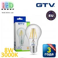 Светодиодная LED лампа GTV, 8W, E27, FILAMENT, 3000К – тёплое свечение. ЕВРОПА!!! Гарантия - 3 года