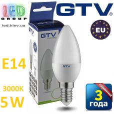 Светодиодная LED лампа GTV, 5W, E14, свеча, 3000К – тёплое свечение. ПОЛЬША!!! Гарантия - 3 года