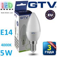 Светодиодная LED лампа GTV, 5W, E14, свеча, 4000К – нейтральное свечение. ЕВРОПА!!! Гарантия - 3 года
