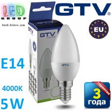 Светодиодная LED лампа GTV, 5W, E14, свеча, 4000К – нейтральное свечение. ПОЛЬША!!! Гарантия - 3 года