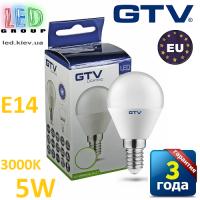 Светодиодная LED лампа GTV, 5W, E14, G45, шарик, 3000К – тёплое свечение. ЕВРОПА!!! Гарантия - 3 года