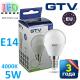 Светодиодная LED лампа GTV, 5W, E14, G45, шарик, 4000К – нейтральное свечение. ПОЛЬША!!! Гарантия - 3 года