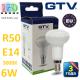 Светодиодная LED лампа GTV, 6W, E14, R50, 3000К – тёплое свечение. ЕВРОПА!!! Гарантия - 3 года