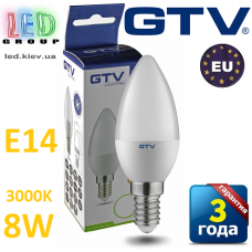 Светодиодная LED лампа GTV, 8W, E14, свеча, 3000К – тёплое свечение. ЕВРОПА!!! Гарантия - 3 года
