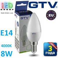 Светодиодная LED лампа GTV, 8W, E14, свеча, 4000К – нейтральное свечение. ПОЛЬША!!! Гарантия - 3 года