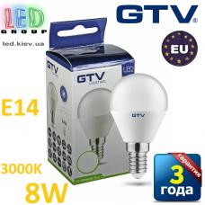 Светодиодная LED лампа GTV, 8W, E14, G45, шарик, 3000К – тёплое свечение. ПОЛЬША!!! Гарантия - 3 года