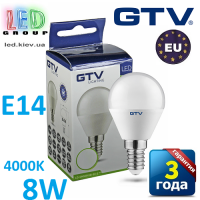 Светодиодная LED лампа GTV, 8W, E14, G45, шарик, 4000К – нейтральное свечение. ЕВРОПА!!! Гарантия - 3 года