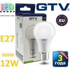 Светодиодная LED лампа GTV, 12W, E27, 3000К – тёплое свечение. ПОЛЬША!!! Гарантия - 3 года