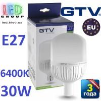 Светодиодная LED лампа GTV, 30W, E27, 6400К – холодное свечение. ПОЛЬША!!! Гарантия - 3 года