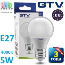 Светодиодная LED лампа GTV, 5W, E27, 4000К – нейтральное свечение. ПОЛЬША!!! Гарантия - 3 года