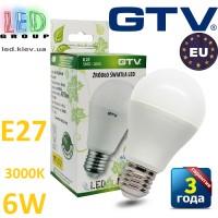 Светодиодная LED лампа GTV, 6W, E27, 3000К – тёплое свечение. ЕВРОПА!!! Гарантия - 3 года