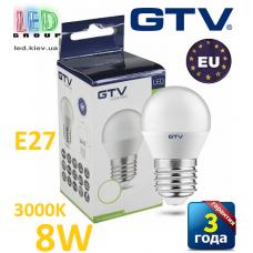 Светодиодная LED лампа GTV, 8W, E27, G45, шарик, 3000К – тёплое свечение. ЕВРОПА!!! Гарантия - 3 года