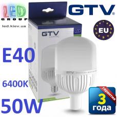 Светодиодная LED лампа GTV, 50W, E40, 6400К – холодное свечение. ПОЛЬША!!! Гарантия - 3 года