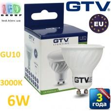 Светодиодная LED лампа GTV, 6W, GU10, MR16, 3000К. ПОЛЬША!!! Гарантия - 3 года