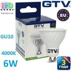 Светодиодная LED лампа GTV, 6W, GU10, MR16, 4000К. ПОЛЬША!!! Гарантия - 3 года