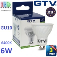 Светодиодная LED лампа GTV, 6W, GU10, MR16, 6400К, керамика. ПОЛЬША!!! Гарантия - 3 года