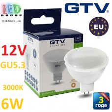 Светодиодная LED лампа GTV, 6W, 12V, GU5.3, MR16, 3000К – тёплое свечение. ЕВРОПА!!! Гарантия - 3 года