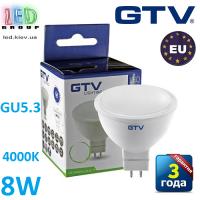 Светодиодная LED лампа GTV, 8W, GU5.3, MR16, 4000К – нейтральное свечение. ПОЛЬША!!! Гарантия - 3 года