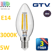 Светодиодная LED лампа GTV, 5W, E14 свеча, FILAMENT, 3000К – тёплое свечение. ЕВРОПА!!! Гарантия - 3 года