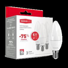 НАБОР LED ЛАМП MAXUS C37 CL-F 4W ТЕПЛЫЙ СВЕТ E14 (ПО 3ШТ) (3-LED-5311)