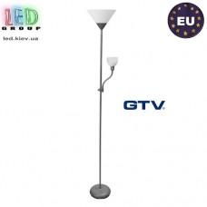 Светильник/корпус напольный GTV, 1xE27 + 1xE14,  металл + пластик, серебристый, BENFICA. ЕВРОПА!